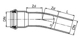 Отвод однораструбный из PVC-U