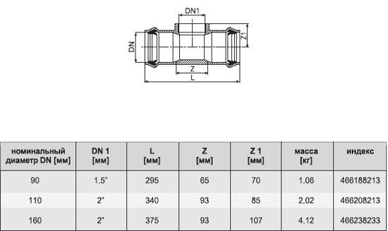 Тройник из РТС-11 АNРL (с внутренней резьбой)