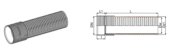 Внешний вид трубы канализационной из РР К2-Кан с раструбной муфтой