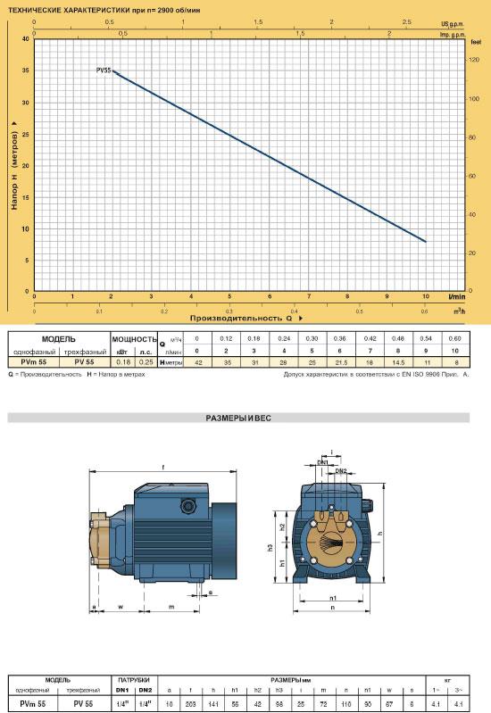 Вихревые промышленные электронасосы PV технические характеристики