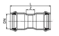 Муфта двухраструбная из PVC-U