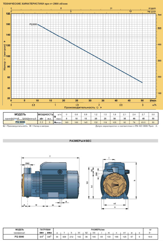 Вихревые электронасосы PQ для промышленного применения PQ3000 технические характеристики