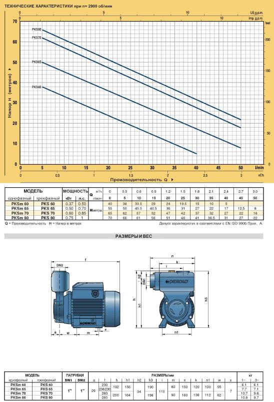 Сомовсасывающие вихревые насосы PKS технические характеристики